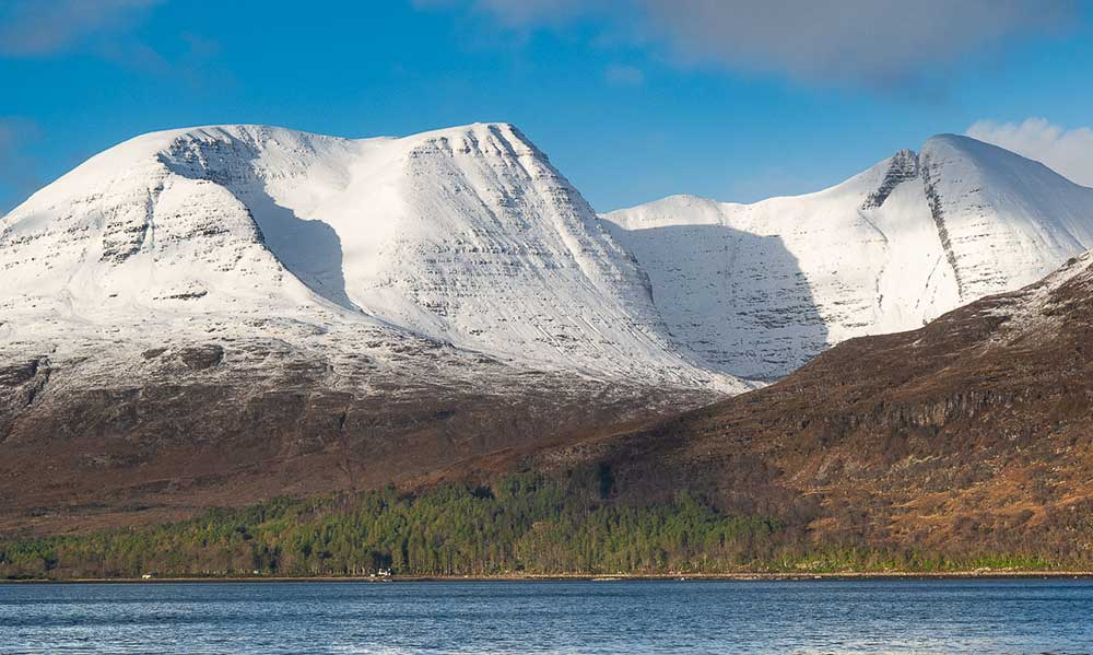 Loch Torridon and snow covered Liathach Mountain